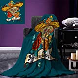 Day of The Dead Digital Printing Blanket Mexican Festive Hat Skull with Roses Art Print Summer Quilt Comforter 80''x60'' Petrol Blue Turquoise Orange Marigold