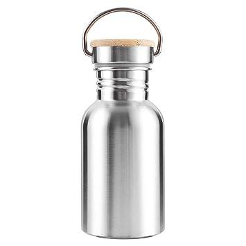 New_Soul Botella Térmica Acero Inoxidable con Tapa de Bambú Termo de Deporte Sin BPA Doble Pared para Exterior Oficina Camping para Adultos y Niños