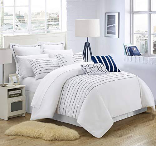 Chic Home 9 Piece Brenton Super Rich Microfiber Stitch Embroidered Queen Comforter Set White -