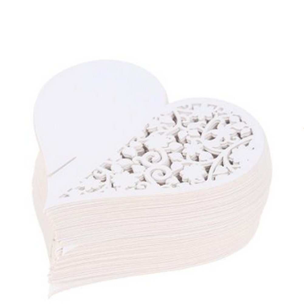 50pcs Wedding Party Table Name Place Cards Favor Decor Love Heart White by Yodosun (Image #3)