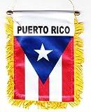 Puerto Rico - Fringed Window Hanging Flag