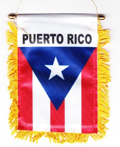 (Puerto Rico - Fringed Window Hanging Flag)