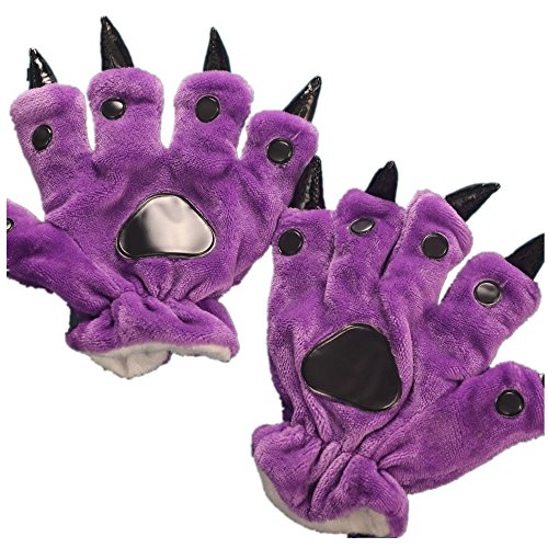 Unisex Paw Claw Winter Finger Gloves for Halloween Costume Purple S -