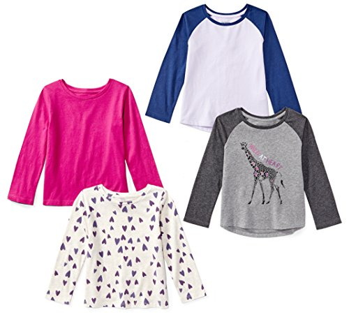 Amazon Brand - Spotted Zebra Girls' Little Kid 4-Pack Long-Sleeve T-Shirts, Animal, Small (6-7)