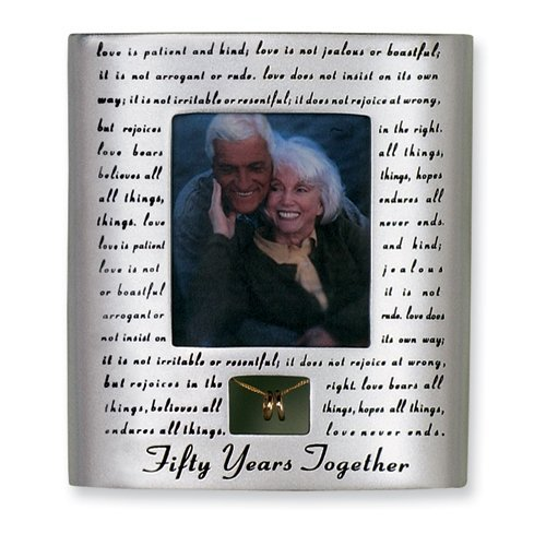 Roman 50th Wedding Anniversary Picture Photo Frame Love Never Fails