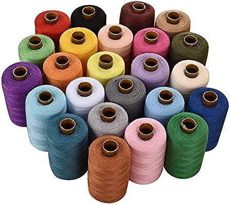 Qiaoniute Hilo de Costura 24 Colores Poliéster 1000 Yardas Juegos ...