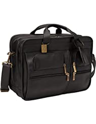 Claire Chase Italian Leather Matte Briefcase, Black, One Size