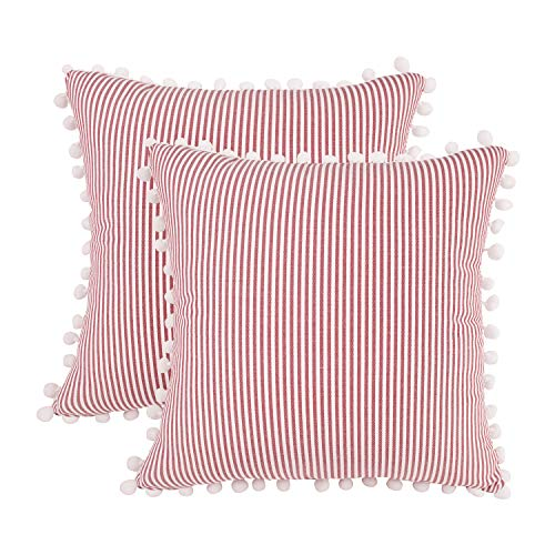 JASEN Farmhouse Stripe Decorative Pillow Covers, Set of 2 Red and White Cotton Woven Decorative Throw Pillowcase Cushion Case Covers with Balls 18x18 Inch (Pillow Stripe Navy Outdoor)