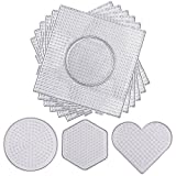 Resinta 5 mm 9 Pieces Fuse Beads Boards Clear Plastic Pegboards Large Square, Small Round, Mini Heart and Hexagon for Kids Craft Beads