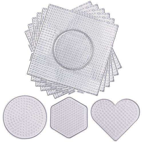 (Resinta 5 mm 9 Pieces Fuse Beads Boards Clear Plastic Pegboards Large Square, Small Round, Mini Heart and Hexagon for Kids Craft)