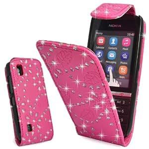 Wellmobile Funda de Cuero Flip Bling del diamante Carcasa Leather Case Cover Para Nokia Asha 300