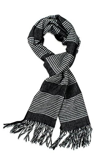 Veronz Soft Classic Cashmere Feel Winter Scarf, Light Dark Black Houndstooth ()