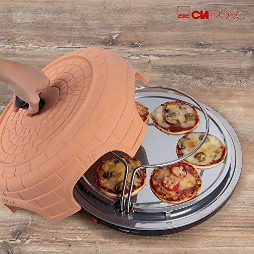 Clatronic PO 3682 Fabricante Horno 6 Pizza(s), 110 cm, Negro, Terracota, 1100 W, 220-240 V, 50-60 Hz, Acero Inoxidable