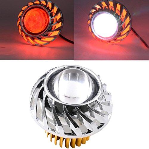 Red Devil Light - Quaanti 2018 New Arrival High/Low Beam LED Headlight For Motorcycle Angel Eyes White Devil Eye light car styling (Red)