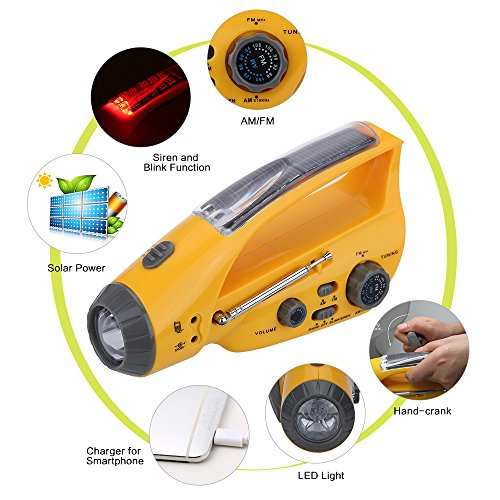Solar Power Charger for Mobile Phone Smartphone Emergency Hand-Winding Crank LED Flashlight Lamp Torch with AM/FM Radio -