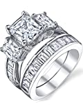 2 Carat Radiant Cut Cubic Zirconia CZ Sterling Silver Women's Engagement Ring Set Size 6