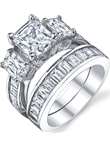 (2 Carat Radiant Cut Cubic Zirconia CZ Sterling Silver Women's Engagement Ring Set Size 6)