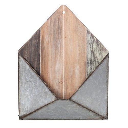 Pine & Paint Wall Pocket Metal & Wood Envelope Letter Organizer