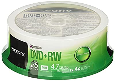 Sony 25DPW47SP DVD+RW 4X 4.7GB Spindle Rewritable DVD, 25-Pack by Sony Electronics Inc. - Media