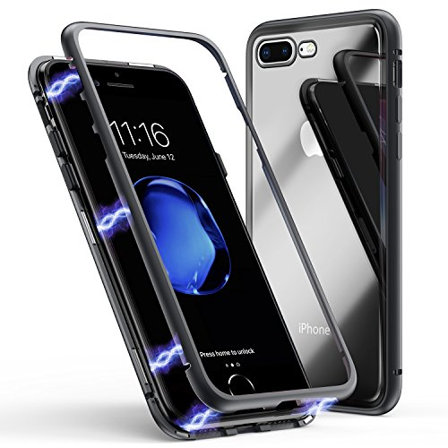 Phone 7 Plus Case, ZHIKE Magnetic Adsorption Case Ultra Slim Metal Frame Tempered Glass Back Built-in Magnet Flip Cover Apple iPhone 7 Plus/8 Plus (Clear Black) ()