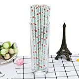 Pack of 25 Disposable Paper Straw Flower Printing Biodegradable Drinking Paper Straw Paper Straw for Drinking Christmas Party Supplies (Blue)