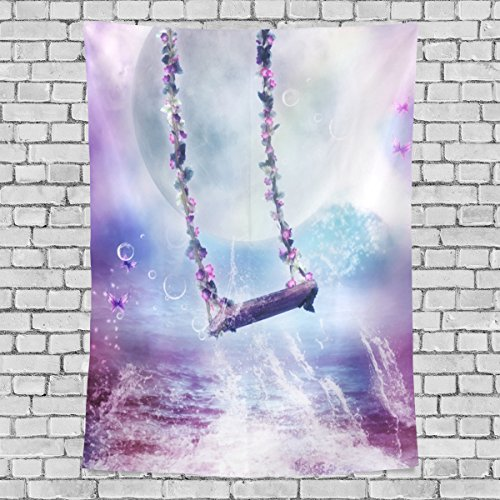 (WellLee Gothic Castle Tapestry Gothic Bling Purple Flower Swing Butterfly Fabric Tapestry Throw Dorm bedroom Art Home Decor Tapestry Wall Hanging 60x40 Inch)