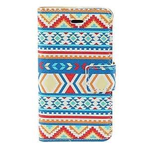 TY-Aztec colorido patrón de la raya de la PU de caso completo de cuerpo con ranura para tarjeta y el soporte para el iPhone 4/4S