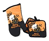 Whimsical Halloween Theme 3 Piece Kitchen Linen Set ~ Includes: 2 Pot Holder 1 Oven Mit (Happy Holloween)