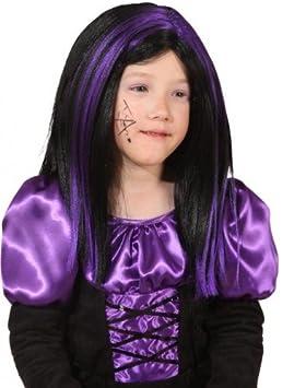 Peluca de bruja niños púrpura-negro disfraz de Halloween Carnaval: Amazon.es: Juguetes y juegos