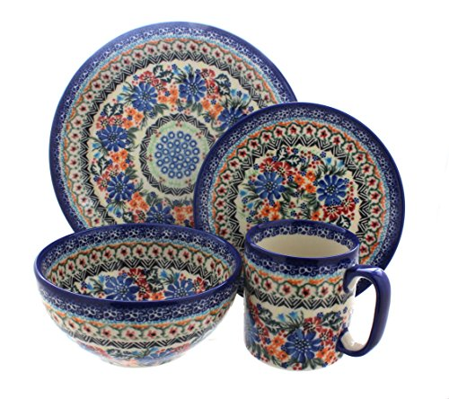 - Blue Rose Polish Pottery Ashley 4 Piece Place Setting