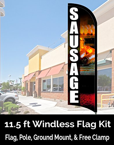 Sausage Premium Windless Feather Banner Flag Kit (Flag, Pole, Ground Mt)
