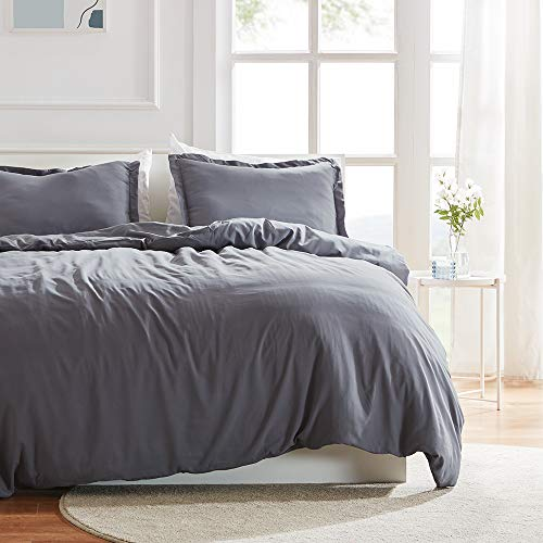 SLEEP ZONE Bedding Duvet Cover Sets 90x90 inch Temperature Management 120gsm Ultra Soft Zipper Closure Corner Ties 3 PC, Gray,Full/Queen
