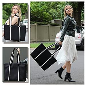 BfB Neoprene Laptop Bag for Women – No More Boring Briefcases – Here's a 17 Inch Computer Bag Thats Lightweight and Stylish – Look And Feel Great Carrying This Designer Business Shoulder Bag – BLACK