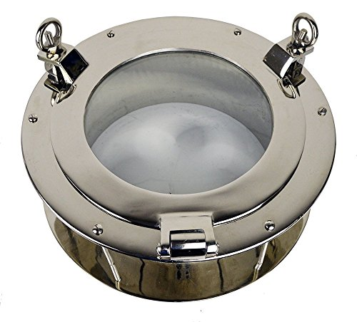 "16""Dia Nickel Finish over Solid Brass Heavy Porthole Window 6.5"" Deep Flange - Functioning by Nautical Tropical Imports"