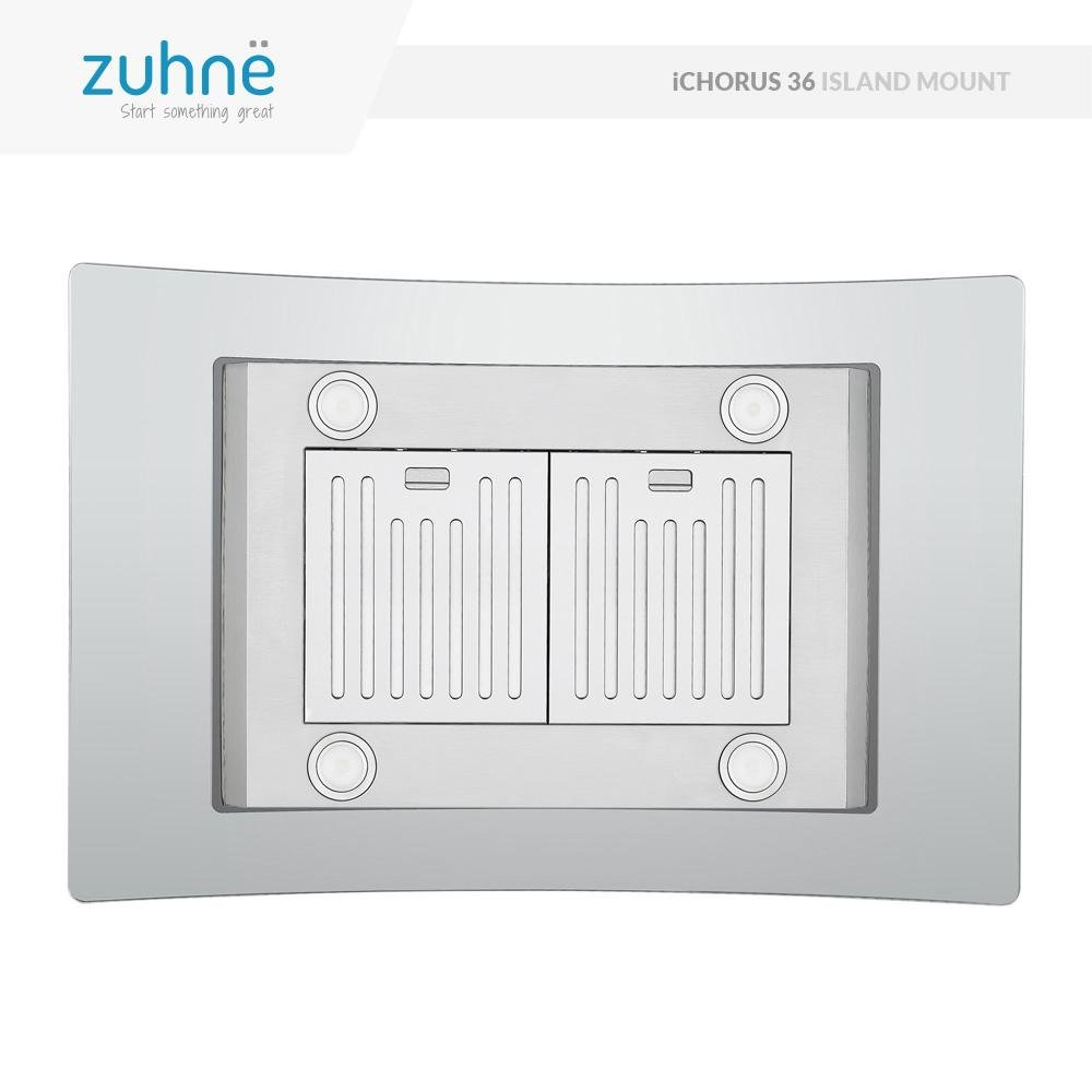 Zuhne iChorus 36 inch Kitchen Island Ducted Ductless Stainless Steel Tempered Glass Range Hood or Stove Vent with Chimney Extension for 10 – 11.5 Ceiling