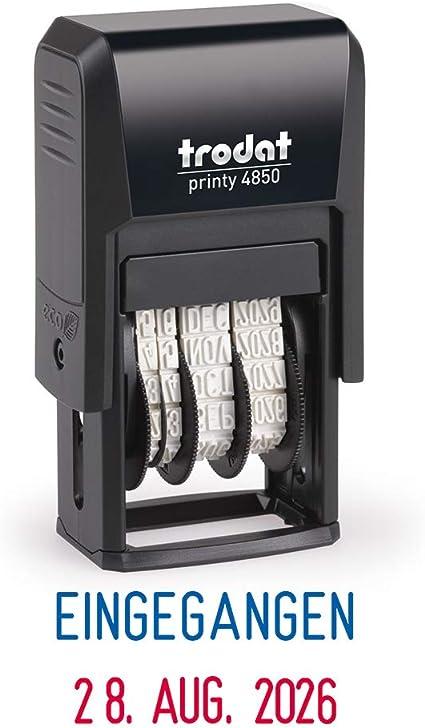 Trodat Printy 4850L1 altezza caratteri: 3,8 mm Timbro datario con scrittaEingegangen lingua tedesca