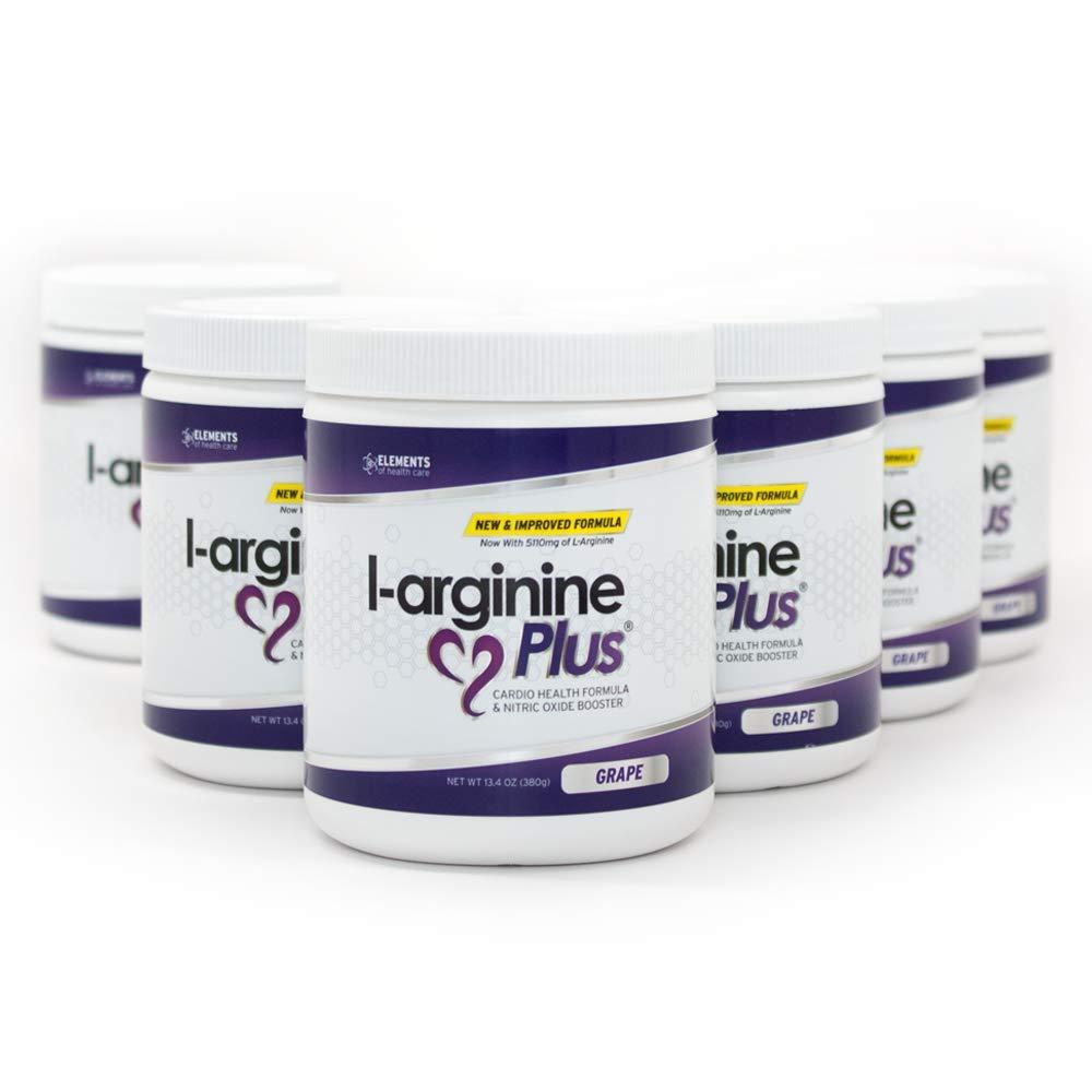 L - Arginine Plus 6 - pack Cardio Health Formula And Nitric Oxide Booster ,Grape 13.4 Oz.