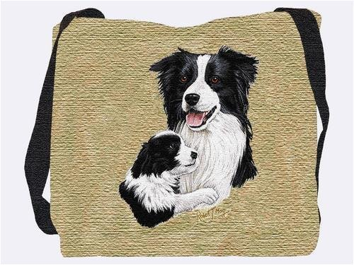 Border Collie & Pup Tote Bag - 17 x 17 Tote (Border Collie Pups)