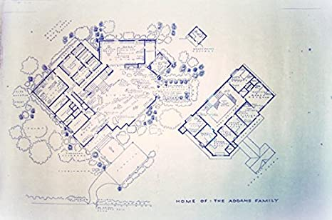 Amazon the addams family tv show house home 0001 cemetery the addams family tv show house home 0001 cemetery lane full size blueprints 24quot malvernweather Image collections