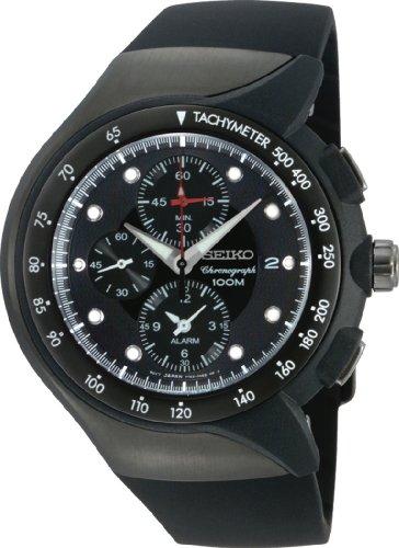 Seiko Men's SNAD63 Alarm Chronograph  Black Ion Finish Urethane Strap Watch -