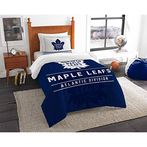 MI Hockey League Maple Leafs Bedding 2 Piece Comforter Twin Set, Sports Patterned Team Logo Fan Merchandise Athletic Team Spirit, White Blue, Polyester -