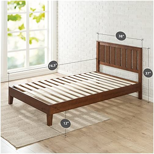 Zinus Vivek 12 Inch Deluxe Wood Platform Bed with Headboard / No Box Spring Needed / Wood Slat Support / Antique…