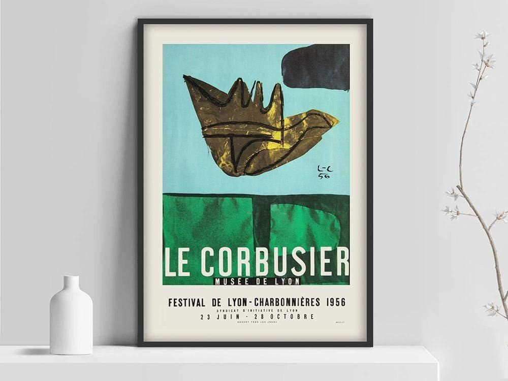 Póster de la exposición de arte Le Corbusier, Musée National d'Art Moderne print 1954, arte abstracto francés, lienzo sin marco Z 60x90cm