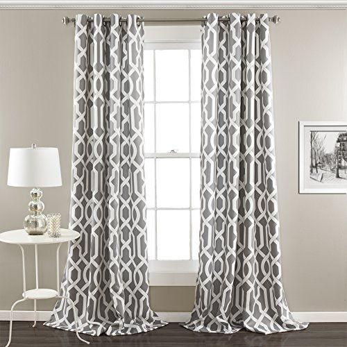 (Lush Decor Edward Trellis Curtains Room Darkening Gray Window Panel Set for Living, Dining, Bedroom (Pair), 95