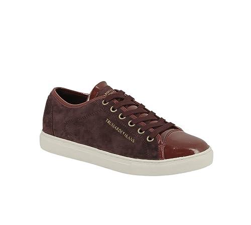 Trussardi Jeans Zapatillas de Deporte de Piel Vuelta Mujer, Rojo (Granate), 37: Amazon.es: Zapatos y complementos