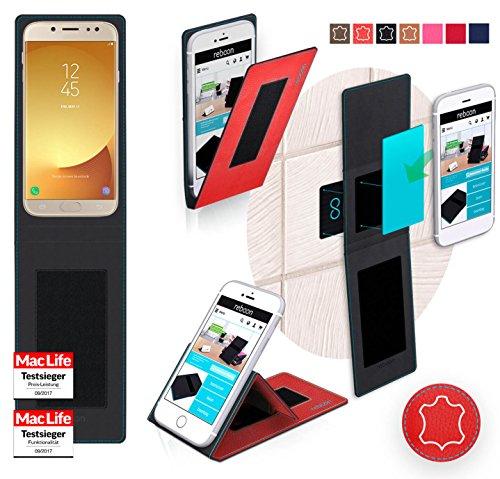 Funda para Samsung Galaxy J7 2017 en Cuero Marrón Vintage - Innovadora Funda 4 en 1-Anti-Gravedad para Montaje en Pared, Soporte de Tableta en Vehículos, Soporte de Tableta - Protector Anti-Golpes par Cuero Rojo