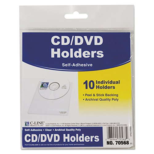 C-Line Self-Adhesive CD Holder, 5.33 x 5.66 Inches, Clear, 10 per Pack (70568) Self Adhesive Media