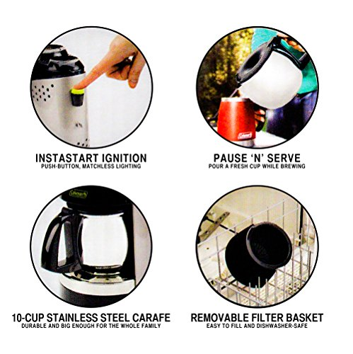 076501231755 - Coleman Quikpot Portable Coffee Maker Instastart - Stainless Steel Carafe - Propane - w/ Carrying Case carousel main 2
