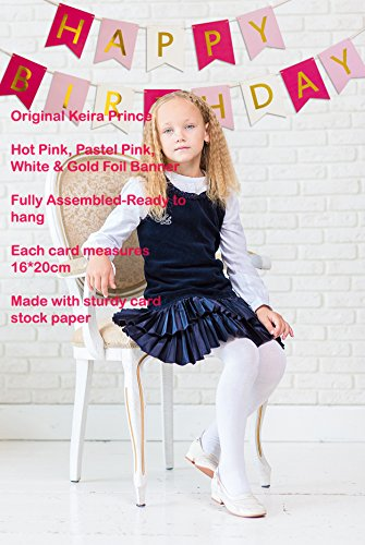 Keira-Prince-Happy-Birthday-Banner-Hot-Pink-Pastel-Pink-White-Gold-Party-Decorations-Unique-Bunting-Flag-garland