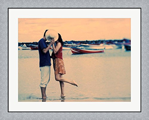 Kissing Couple at Playa de las Teresitas, Tenerife, Canary Islands, Spain by Michele Westmorland / Danita Delimont Framed Art Print Wall Picture, Flat Silver Frame, 35 x 28 inches by Great Art Now